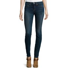 rag & bone/JEAN High-Waist Skinny-Leg Jeans ($225) ❤ liked on Polyvore featuring jeans, mercer, zipper skinny jeans, super high rise skinny jeans, blue jeans, skinny fit jeans and high-waisted skinny jeans
