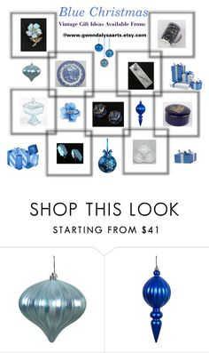 """""""Blue Christmas ..."""" by lizzysbibsandbobs ❤ liked on Polyvore featuring interior, interiors, interior design, home, home decor and interior decorating"""