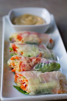 Easy Veggie Spring Rolls with Sweet & Spicy Dipping Sauce // gorgeous, fresh, flavorful via Linda Wagner #cleaneating #takeout