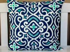Two Navy Blue Turquoise Chartreuse Gray Pillow Covers