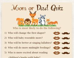 Mom or Dad Quiz ~ Woodland Animal Baby Shower Game ~ Gender Neutral Theme ~ Printable Game 0046
