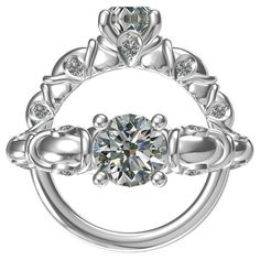 Diamond Sterling Silver 1-carat Round Center with 10 0.11-ctw Side Stones Cubic Zirconia Classic Engagement Ring, Women's
