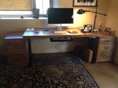 Jake used his existing desktop and file cabinets to create this beautiful sit-stand workstation.
