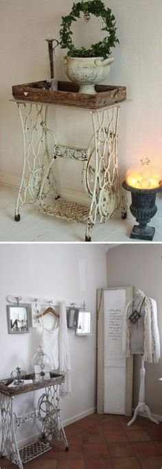 4 Shabby Chic Singer Sewing Machine Table with Antique White Finish