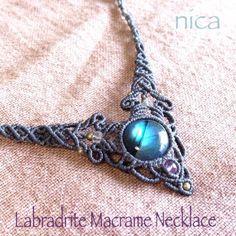 ラブラドライト マクラメネックレスvo - nica Stone & Macrame Accessory