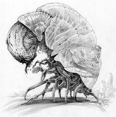 Coloring for adults en kleuren voor volwassenen Alien Concept Art, Creature Concept Art, Creature Design, Monster Design, Monster Art, Alien Creatures, Fantasy Creatures, Lovecraftian Horror, Creature Drawings