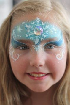 2014 Little girl Halloween Frozen face paint design - snowflakes, eyeshadow  #2014 #Halloween