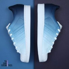 Explore The Adidas Superstar Navy Blue Custom Sneakers. If You Are Looking For Navy Adidas Shoes, These Custom Navy Blue Adidas shoes Are Perfect For You! The mix of the cute and comfy Adidas sneaker plus our hand painted, navy blue design makes for the ultimate unique Adidas shoes. Custom Sneakers, Custom Shoes, All White Adidas Shoes, Blue Ombre, Navy Blue, Converse Weapon, White Adidas Originals, Painted Sneakers, Blue Design