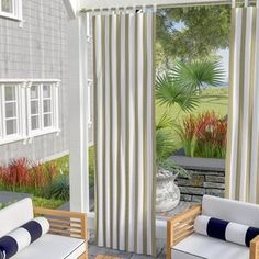 Beachcrest Home Berklee Striped Light Filtering Outdoor Tab Top Single Curtain Panel Curtain Color: Natural, Size per Panel: W x L Rod Pocket Curtains, Grommet Curtains, Drapes Curtains, Striped Room, Floral Room, Solar Shades, Outdoor Curtains, Decor Pillows, Colorful Curtains