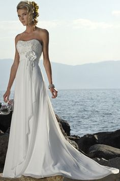 A-line/Princess Stroppeløs Bane-tog Ermeløs Chiffon Wedding Dress