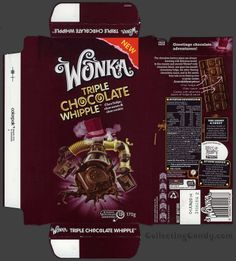 Australia-New Zealand - Nestle - Wonka Triple Chocolate Whipple - chocolate bar wrapper box - August 2013 Chocolate Wonka, Chocolate Diy, Chocolate Factory, Vintage Packaging, Beer Packaging, Food Packaging Design, Barbie Food, Doll Food, Chocolate Bar Wrappers