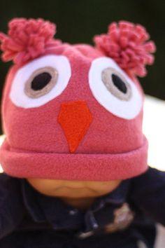 Cute Pink Owl Fleece baby Hat by MarzWear on Etsy
