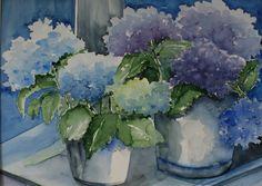 """Hortensia's in Blauw"""" aquarel  gemaakt door Hilde Laan"""