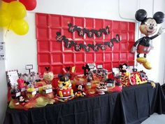 Mickey Mouse boy birthday party dessert table and backdrop!  See more party planning ideas at CatchMyParty.com!