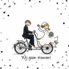 Bijzonder leuke en stijlvolle trouwkaart van hippe bakfiets met bruidspaar. Design: Anet van de Vorst Te vinden op: www.kaartje2go.nl