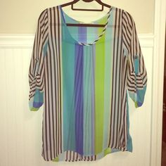 M/L sheer blouse Gorgeous black, white, teal, green striped quarter sleeve shirt. Blouse is sheer but perfect for work, going out, and everywhere in between! Tops Blouses