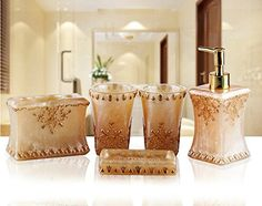 WYMBS Christmas gift simple Europeanstyle Resin bathroom toiletries five piece mug set H