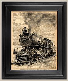 Train  Steam Engine ink drawing. Upcycled vintage by BookwormSalon, $8.99