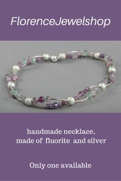 Purple green silver semi precious gemstone beaded necklace / choker, (hand)made of faceted fluorite and silver, finished with a magnetic clasp. This necklace weighs less than 50 gram and is ideal for women with problems with their back, neck or shoulders. You can wear this necklace on any occasion and it will look great on white, purple, green clothing. � 105. Learn more: https://www.etsy.com/listing/207738054/purple-fluorite-necklace-handmade-beaded?ref=shop_home_active_3