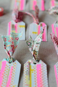 Sweet fabric + washi tape tags via @Holly Elkins Elkins Becker