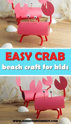 Toilet Paper Roll Crab Beach Craft for Kids This adorable crab craft for kids is a great toilet pape Preschool Beach Crafts, Beach Crafts For Kids, Recycled Crafts Kids, Kindergarten Crafts, Easter Crafts For Kids, Toddler Crafts, Preschool Projects, Craft Kids, Preschool Ideas