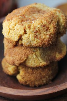 Pumpkin Snickerdoodles - Paleo and egg free. Omit palm sugar and psyllium husks. Paleo Baking, Gluten Free Baking, Gluten Free Desserts, Vegan Desserts, Vegan Treats, Plated Desserts, Paleo Dessert, Healthy Sweets, Dessert Recipes