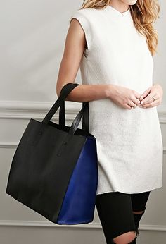 Colorblock Faux Leather Tote | Forever 21 - 1049258030