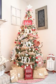 A Farmhouse Style Christmas Tree | Simply Beautiful By Angela Pretty Christmas Trees, Christmas Tree And Santa, Flocked Christmas Trees, Ribbon On Christmas Tree, Woodland Christmas, Christmas Tree Themes, Rustic Christmas, Xmas Tree, Christmas Diy