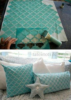 Painted fabric - using a stencil to make these pretty pillows. This is a commercial for Martha's goods, but the tutorial is very good.