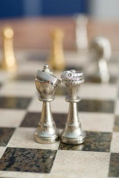 Wedding rings and chess pieces- Honey Bee Weddings: Real Wedding: Liz + Calvin, The Evening