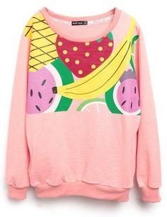 Pink Fruit Print Loose Cotton Sweatshirt