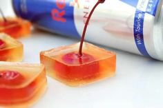 Vodka Red Bull Jello Shots Recipe - Recipes   Riverbender.com--would Omit The Red Bull And Use Ginger Ale But Love The Cherry Idea