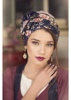 Gorgeous floral jeans turban. Turban hats, TIchels, Fashion turbans, ready to wear turbans, head wraps, headband, head scarves