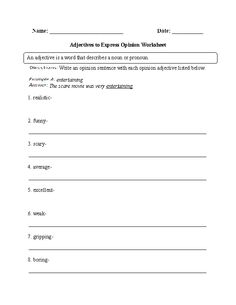 Adjectives to Express Opinion Worksheet