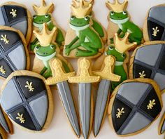 Sword, shield, and frog prince cookies, Oh Sugar Events: castle