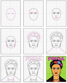 How to Draw Frida Kahlo · Art Projects for Kids. Share how to use grid drawing to make a complex picture easier to draw. Drawing For Kids, Art For Kids, Drawing Ideas, Baby Kalender, Projects For Kids, Art Projects, Fridah Kahlo, Kahlo Paintings, Frida Art