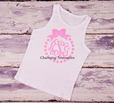 Polka Dot Bow Glitter Monogram Tank Top - YOU CHOOSE from 15 glitter colors-