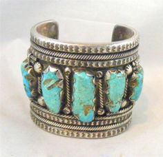 Vintage Finely Crafted Sterling Silver Turquoise Navajo P Padilla Bracelet