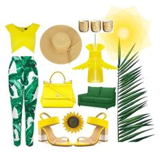 """tropical outfit"" by zuzibarty ❤ liked on Polyvore featuring Dolce&Gabbana, Nika, ALDO, Pottery Barn, Sarah Angold and Illume"
