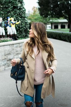 How to style a trench coat for fall via Glitter & Gingham / the best trench coat for fall / Easy fall outfit idea ft. Abercrombie & Fitch, Henri Bendel, Kate Spade, Free People, Loft & BaubleBar