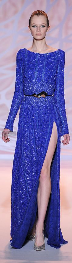 Zuhair Murad Fall-winter 2014-2015. Blue beaded long sleeve dress. I can do without the slit.