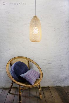 Bamboo Pendant Light, Repurposed Fish Trap Ceiling Lamp, Detailed Woven Bamboo Hanging Lamp, Bohemian Décor / Long