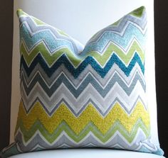 teal,grey,yellow, and lime green bedroom decor | ... Decor Pillow Cover- 18x18-Gray- Teal -Gray-Yellow -Lime Green-Toss
