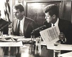 Picture of Robert and John Kennedy during Senate hearings in 1957 into improper labor activities.♡❀❁❤❁❤❁❤❁❤❁❤❀♡ http://en.wikipedia.org/wiki/John_F._Kennedy  http://en.wikipedia.org/wiki/Robert_F._Kennedy