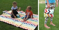 Waterproof Chevron Picnic Blankets.  I totally could make this!