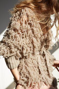 Ryan Roche Fringe Knit in Camel | Oroboro Store
