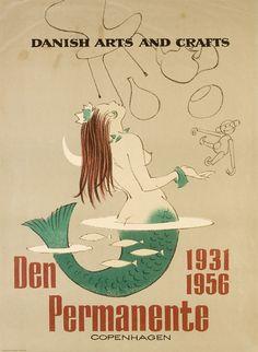 1956 poster 'Danish Arts & Crafts, Den Permanente 1931 1956, Copenhagen'
