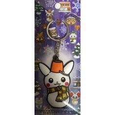 Pokemon Center 2014 Christmas Daruma Pikachu Snowman Rubber Keychain