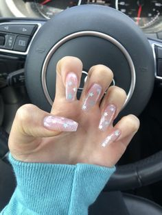 35 Simple Ideas for Wedding Nails Design 1 - Nail Trends ? : 35 Simple Ideas for Wedding Nails Design 1 Clear Acrylic Nails, Summer Acrylic Nails, Acrylic Nail Designs, Clear Nails With Glitter, Summer Nails, Star Nail Designs, Glitter Gel Nails, Pretty Nail Designs, Colorful Nails