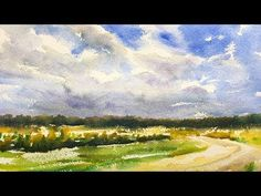 Watercolor Painting Tutorial, Field and Sky - YouTube